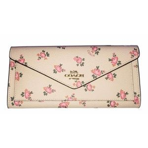 Coach Tossed Peonies Wallet In Blush Pink